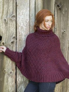 Galilee is a free poncho knitting pattern, knit in Berroco Ultra Alpaca Chunky with sleeve cuffs attached to the body to help keep your wrists covered. The wickerwork stitch pattern is worked only on the front, leaving the back plain and simple. Download the pattern at Berroco.com.