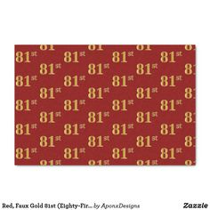 Red, Faux Gold 81st (Eighty-First) Event