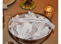 "Last Thanksgiving I introduced a memorable new family tradition – Turkey Talk.  We passed around a bowl of questions throughout the meal.  When the bowl came to you, you picked your question, read it aloud and answered it.  The premise behind the ""game"" is that sometimes the people you are closest to are the people…"