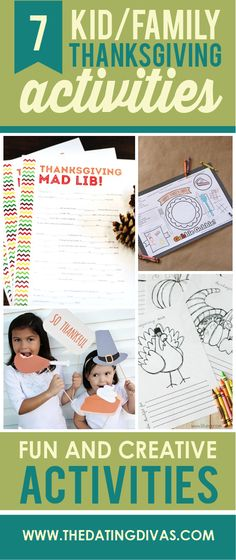 7 kid & family thanksgiving activities- time to make some holiday memories with the kiddos! Fun ideas!