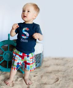 Love this Navy Personalized Tee & Madras Shorts - Infant, Toddler & Boys on #zulily! #zulilyfinds