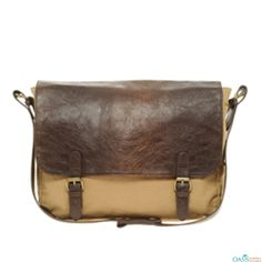 Look smart with Cream and Tan Flap Leather Single Shoulder Bag from Oasis Leather.