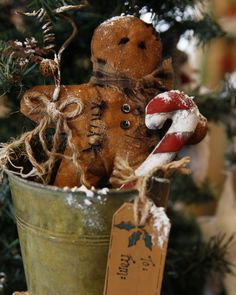 Gingerbread man with candycane by TheChristmasDen on Etsy