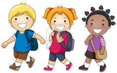 A Small Group of Kids Walking to School