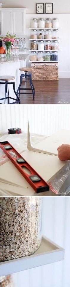 DIY Open Shelving Storage.