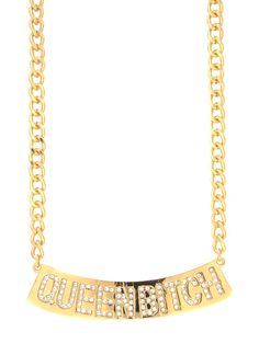 Girl, you won't need to open that perfect pout and let 'em know what's up when you're wearing this adjustable chain necklace. After all, the rhinestone embellished 'QUEEN BITCH' on the plate charm says all that needs to be said, right?