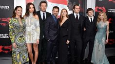"The cast of ""Batman vs. Superman: Dawn of Justice"" attend the New York movie premiere, 2016.  L to R: Diane Lane, Gal Gadot, Ben Affleck, director Zack Snyder, Amy Adams, Henry Cavill, Jesse Eisenberg, Holly Hunter."