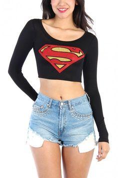 LoveMelrose.com From Harry & Molly | RHINESTONE SUPERMAN LONG SLEEVE CROP TOP - BLACK
