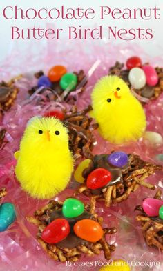 Chocolate Peanut Butter Bird Nests are made from chow mein noodles, marshmallows, chocolate chips and peanut butter, then topped with more chocolate and jelly beans. - Recipes, Food and Cooking