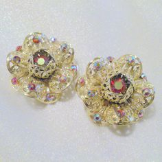 "Vintage Sarah Coventry ""Fashion Flower "" Rhinestone Filigree Clip Earrings 1961 by BorrowedTimes on Etsy"