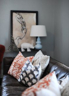 Need light, bright fabrics for the pillows on my dark couch to lighten up the space. #home #decor