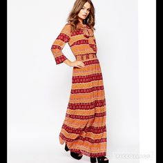 NWT Boho Hippie Scarf Maxi Dress SZ S Lined, lightweight woven fabric Round neckline with scarf detail  Striped design  Elasticated shirred waistband  Regular fit - true to size Machine wash 100% Polyester Dresses Maxi