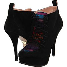 Black Booties/Ankle Boots with rainbow accent...Betsey Johnson Edenn