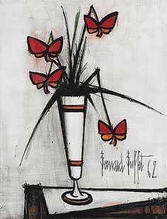 artnet Galleries: Pensées dans un vase blanc by Bernard Buffet from Willow Gallery