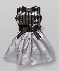 Another great find on #zulily! Black & Gray Stripe Sequin Dress - Infant, Toddler & Girls #zulilyfinds