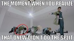 SHINee...OMG! I never even notice! wow! :D< Half of them did a split and the other half is doing what oppas doing.