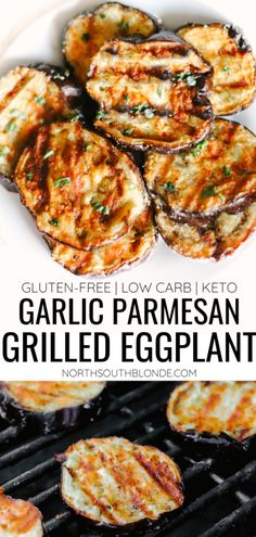 Garlic Parmesan Grilled Eggplant is melt-in-your-mouth delicious, the best BBQ recipe and side dish you will ever make! Easy, healthy, low carb, and keto friendly. Healthy Side Dishes | Dinner Recipes | BBQ Recipes | Eggplant Recipes | Grilling | Sides | BBQ'd Eggplant | Ketogenic | Weight Loss | Keto Dinner | Easy | Simple | Grilled Veggies | Barbecue | Barbecued | Keto Eggplant Recipe, Grilled Eggplant Recipes, Eggplant Recipes Low Carb, Best Bbq Recipes, Easy Dinner Recipes, Easy Meals, Healthy Grilling Recipes, Juice Recipes, Healthy Side Dishes