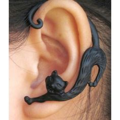 Black Rose Snake Cat Bat EARCUFFS Flying Curled Dragon WRAP EARRING... ❤ liked on Polyvore featuring jewelry, costume jewelry, rose jewelry, costume jewellery, cat jewelry and snake costume jewelry