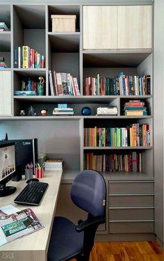 Office, built in, wall shelf, storage