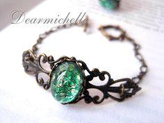 Victorian Vintage Green Fire Opal Bracelet, Vintage Jewelry, Antique Bronze Emerald Fire Opal Bracelet, Iridescent Bracelet, Opal Jewelry