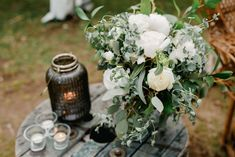 TIP: Get a friend to repurpose your bouquet for amazing reception flowers. Just add a vase and some votives. www.jademcintoshflowers.com.au www.littleblackbowphotography.com.au Reception Table, Country Style, Repurpose, Wedding Bouquets, Favorite Color, Jade, Whimsical, Neutral, Tables