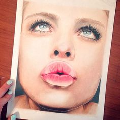 kiss color pencil drawing