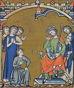 Maciejowski Bible, Leaf 37 - David is told of Abner's death - David learns of Abner's death, and curses Joab and his house. An example of faldstool