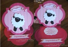 Punch art sheep baby card Sheep Cards, Animal Cards, Punch Art, Baby Boutique, Lambs, Baby Cards, Ideas Para, Owls, Congratulations