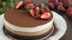 This triple chocolate mousse cake is rich, chocolaty and decadent, hardly not to fall in love with it from the first bite. Three airy layers of chocolate goo...