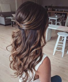long hair goals - loose curls - loose waves- THM Hair Extensions lange haare ziele - lose locken - l Wedding Hairstyles For Long Hair, Wedding Hair And Makeup, Hair Makeup, Bridesmaid Hairstyles Half Up Half Down, Gorgeous Hairstyles, Bridesmaid Hair Half Up Long, Wedding Hair Brunette, Wedding Hair Styles, Hairstyles For Weddings Bridesmaid