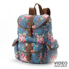 Candie's Floral Denim Cargo Backpack