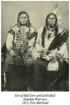 Running Face & Little Bull, Mandan Warriors, 1872 Fort Berthold