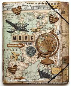 I love this art travel journal cover! hmm scrapbook c Travel Journal Scrapbook, Diy Scrapbook, Scrapbook Pages, Travel Journals, Scrapbook Layouts, Scrapbook Cover, Art Journals, Scrapbook Templates, Vintage Scrapbook