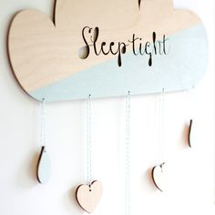 Puurrr houten babykamer Mobiel Wolk Mint, Sleep Tight.