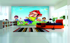 Kick it - Little Ganesha playing soccer with friends (From the new series of Children's Walls)