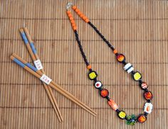 handmade sushi glass bead necklace..  www.burcutansug.com