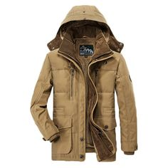 AFS JEEP Mens Plus Velvet Thick Winter Coat Hooded Outdoor Solid Color Jacket at Banggood