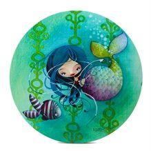 Toile ronde Ketto-  Sirène / Ketto's round canvas - Mermaid * www.kettodesign.com