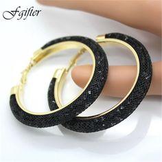Moda 60mm Gran Círculo Pendientes de Cristal Pendientes de Aro de 60mm Negro Completo 18 Colores de Las Mujeres Pendientes Aros