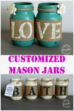 Customized Mason Jars- DIY Home Decor! – Kim D'Ewart Letourneau Customized Mason Jars- DIY Home Decor! So many great ideas for customizing mason jars for just about anything! Mason Jar Projects, Mason Jar Crafts, Bottle Crafts, Burlap Mason Jars, Fall Mason Jars, Christmas Mason Jars, Mason Jar Candles, Christmas Decor, Crafts To Do