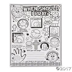 Our Color Your Own When Should I Pray? Posters are an excellent way to reinforce your lessons on prayer. Great for Sunday School and VBS, these paper posters . Kids Sunday School Lessons, Sunday School Activities, Church Activities, Bible Activities, Sunday School Crafts, Religion Activities, Teaching Religion, Group Activities, Sunday School