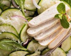 Salade de courgettes light au poulet au yaourt : http://www.fourchette-et-bikini.fr/recettes/recettes-minceur/salade-de-courgettes-light-au-poulet-au-yaourt.html