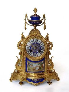 French porcelain and ormolu mantel clock (c. 1880
