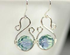 Blue Green Swarovski Crystal Earrings Wire Wrapped Jewelry Handmade Sterling Silver Jewelry Handmade Swarovski Crystal Jewelry Lavender