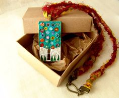 Tree of life pendant mosaic necklace stained glass by Sunpieces