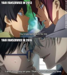 is love >///< Animes: Free(top) and Yuri! On Ice(below). Yuri on ice is a new anime and personally to me it tortures us more because the yaoi is there but well you just have to see! Anime Boys, Me Anime, Manga Anime, Anime Meme, Anime Stuff, Yuri On Ice, Comic Manga, Free Iwatobi Swim Club, ユーリ!!! On Ice