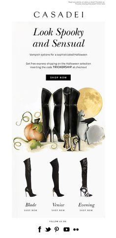 Casadei Trick or Treat! Email Newsletter Design, Email Newsletters, Email Marketing Design, Email Design, Best Email, Banner, Typography, Branding, Graphic Design