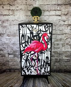 A fantastic upcycled vintage tall boy from Meredew with a bespoke graffiti flamingo . - UPCYCLING IDEASA fantastic upcycled vintage tall boy from Meredew with a bespoke graffiti flamingo ., a fantastic made meredew SOLD Graffiti Furniture, Funky Furniture, Refurbished Furniture, Repurposed Furniture, Shabby Chic Furniture, Furniture Plans, Furniture Makeover, Vintage Furniture, Painted Furniture