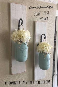 Etsy Set of 2 Large Quart Size Mason Jar Sconces, Mason Jar Wall Decor, Farmhosus Decor, Hanging Mason Ja #decor #homedecor