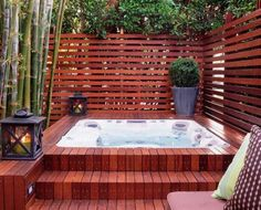 Hot tub small backyard with privacy